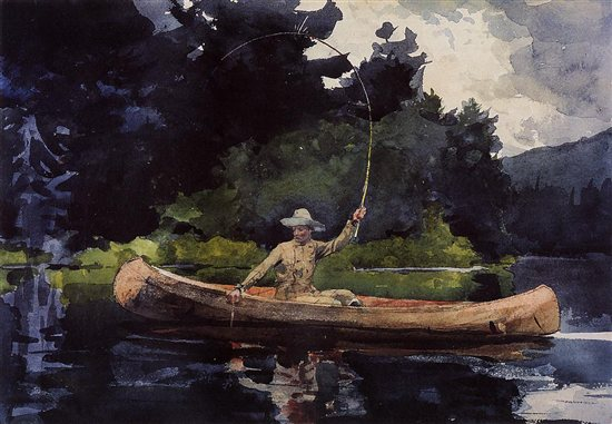 Playing Him (The North Woods) by Winslow Homer, watercolor painting.