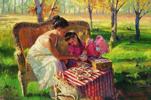 An abundance of apples or a challenge to face in your art--both are best met with creativity and ingenuity. Afternoon Tea by Steve Henderson of Steve Henderson Fine Art.