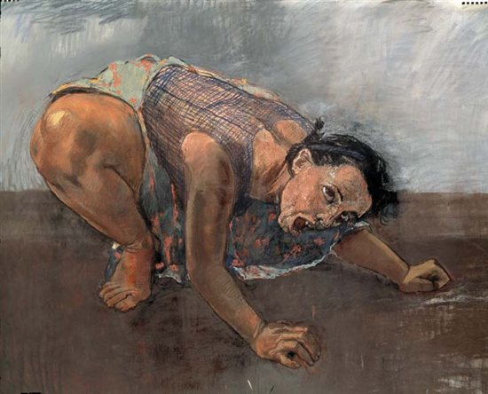Dog Woman by Paula Rego, 1994, pastel painting on canvas.