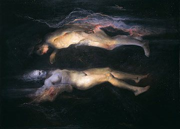 Drifting by Odd Nerdrum, oil on canvas.