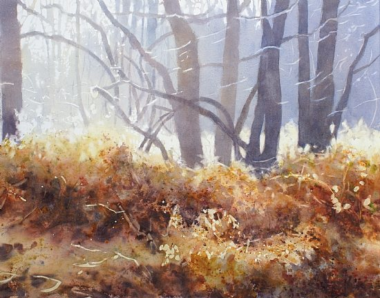 Falling Light by Sarah Yeoman, watercolor painting, 22 x 30.