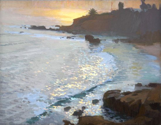 Seascape by Ray Roberts, oil painting.