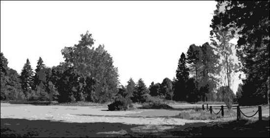 Landscape painting composition photograph in grayscale by Mitchell Albala.