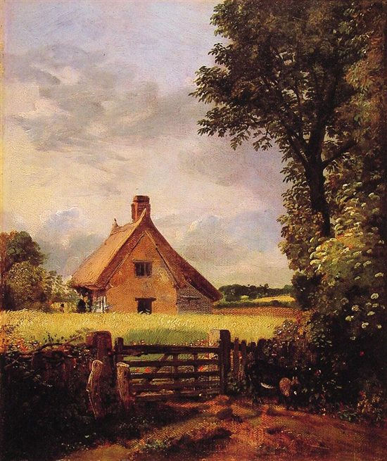 A Cottage in a Cornfield by John Constable, oil painting, c. 1816-17