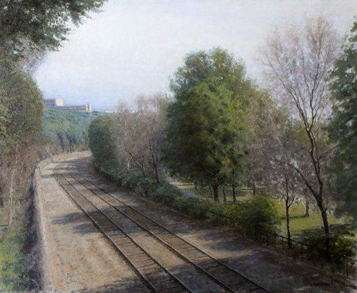 Railroad Tracks by Bennett Vadnais, oil on canvas, 25 x 30, 2008.
