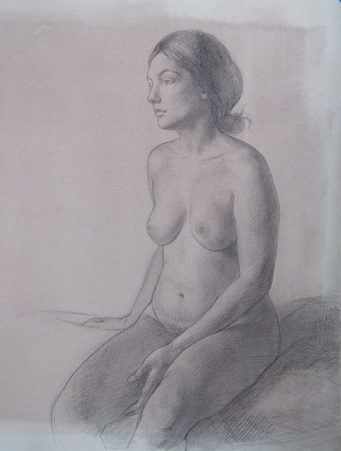 Leah by Patricia Watwood, pencil on toned paper, 18 x 14, 2011.
