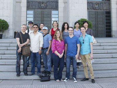 The artists and hosts, left to right: Paul McCormack, Daniel Sprick, Stephen Ling, Noha Valenti, Tom Valenti, Patricia Watwood, Nanette Fluhr, Katie O'Hagan, Greg Mortenson, Chen Xiaolen, Joshua LaRock and Xu Fei.  Arriving later: Max Ginsberg, Michael Klein, and Ronald Sherr.