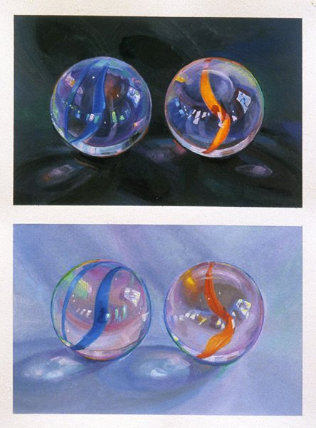 "B&W #6, 2000, oil drawing on paper, 12"" x 9"" by Lisa Dinhofer"