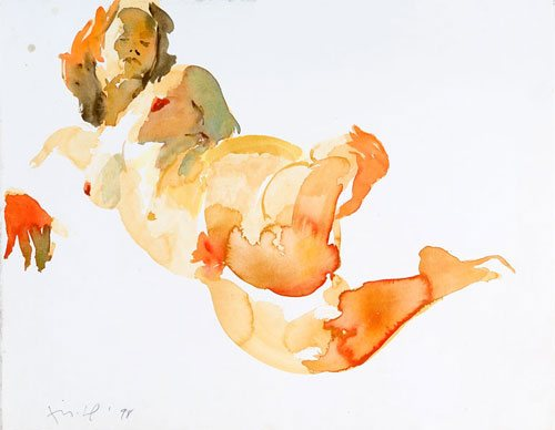 Untitled by Eric Fischl, watercolor painting.