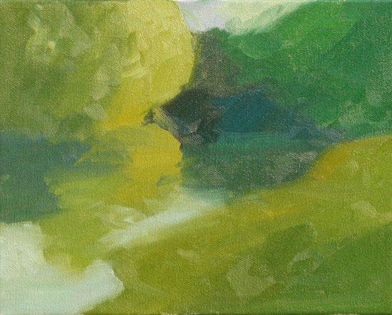 Jennifer King's plein air painting block in, step 5.