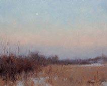 Plein Air Painting - February Moon Set by Mark Hanson