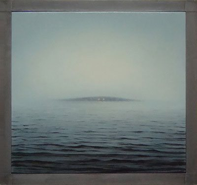 Shelter Island in Fog, 2009, oil painting on canvas encased in lead, 33 1/4 x 35 1/4 x 2 1/4. By Adam Straus
