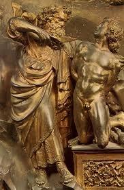 Sacrifice of Isaac (detail) by Lorenzo Ghiberti, 1401-03.