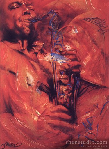 Portrait painting of a saxophone player by Shen, titled Blue Bird.