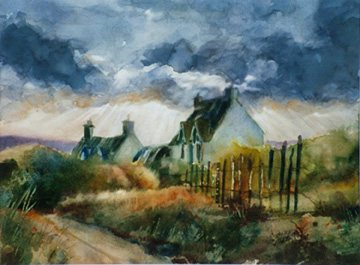 A Break in the Weather by Jim McFarlane, watercolor painting.