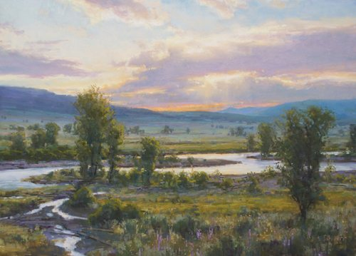 The Sun Worshipers (pastel, 16x22) is a studio painting based on an oil study that Schuerr painted in Yellowstone National Park on a fine summer evening.