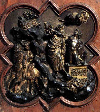 Sacrifice of Isaac by Lorenzo Ghiberti, 1401-03.