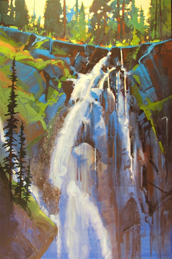 Portrait of Hidden Falls #3 by Stephen Quiller, 36 x 24, water media.