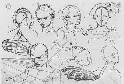 Studies of Heads and Hands by Hans Holbein the Younger, pen-and-ink.