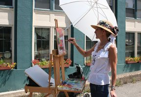 Cincinnati artist Monica Achberger participating in a plein air paint-out, Milford, Ohio, sponsored by the Ohio Plein Air Society in August 2010.