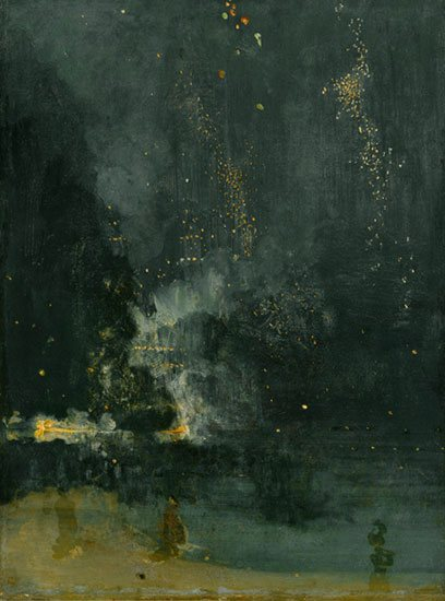 Nocturne in Black and Gold--The Falling Rocket by Whistler, oil painting.