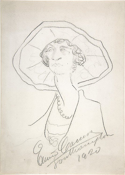 Caricature of a Woman in a Large Hat by Enrico Caruso, 1920, 14 x 20, pencil drawing.