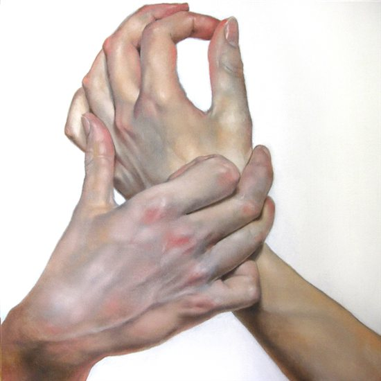 Hands #1, 2011, 24 x 24, oil on canvas by Daniel Maidman