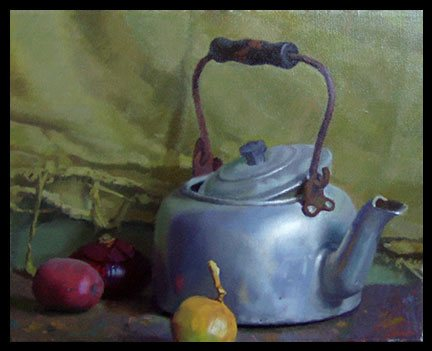 Still Life with Gray Kettle by Kerry Dunn, oil on linen, 16 x 20.