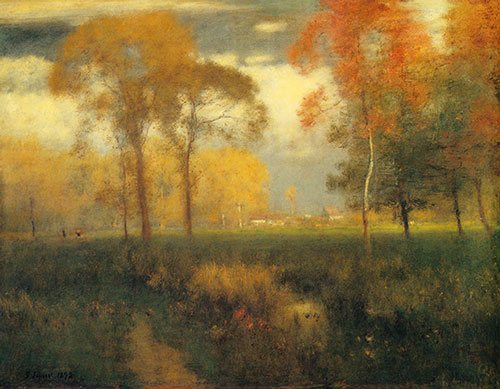 Sunny Autumn Day by George Inness, 1892, oil painting.