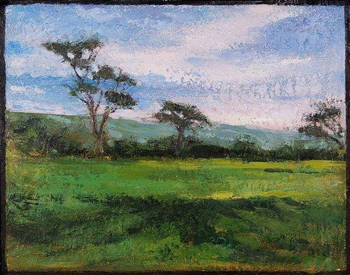 Spring Begins by Paula Stark, 2010, encaustic painting, 20 x 18.