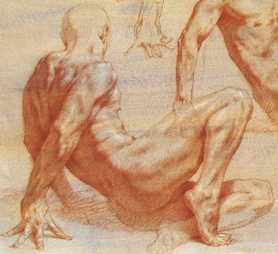 Red chalk figure drawing by Robert Liberace, detail, chalk on paper, 14 x 22.