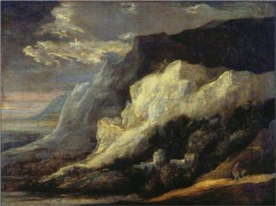 Rocky Landscape by Hercules Seghers, 1600s, oil painting.