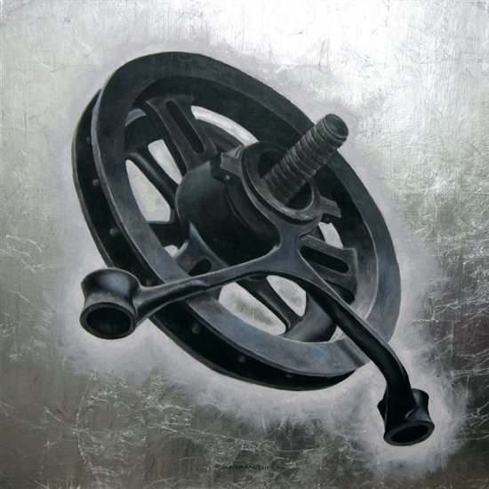 Industrial Object #1, 2011, silver leaf and oil on canvas, 36 x 36.