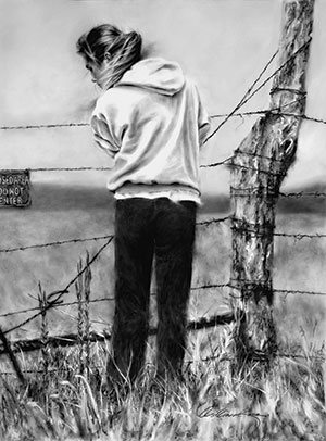 On the Fence Line by William Rose, 2007, charcoal on Mylar, 38 x 28.