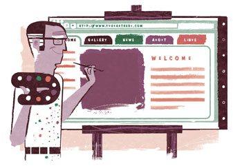 Scotty Reifsnyder's illustration I commissioned for an article on artist website design.