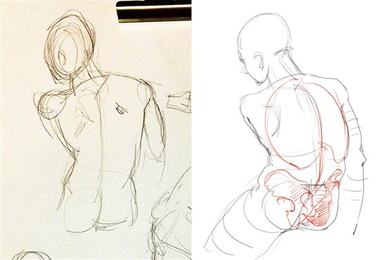 You can fix this figure drawing by adjusting the fullness of the rib cage and angle of the hips.