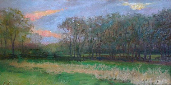 Watwood often creates plein air studies for landscape elements in her oil paintings.
