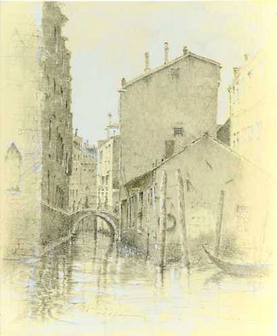 Narrow Canal, Venice by Stephen Scott Young, 2009, silverpoint on tinted, coated paper, 9 x 7 1/4. Coutesy Adelson Galleries, New York, New York.