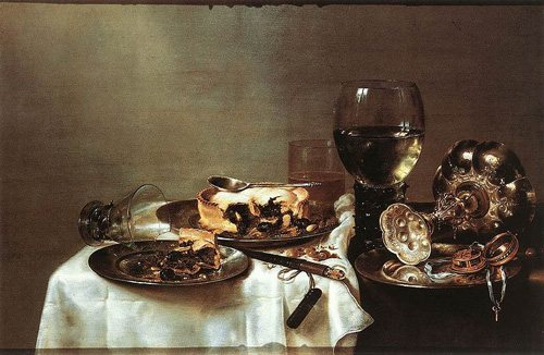 Breakfast Table with Blackberry Pie by Willem Claeszoon Heda, oil on panel, 1631.