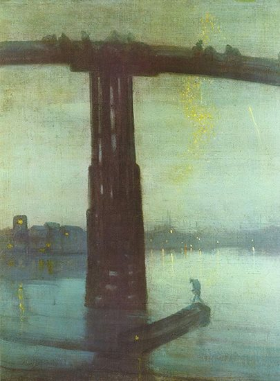 Nocturne in Blue and Gold by Whistler, oil painting.