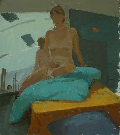 Color wheel: Female figure, turquoise pillow by Peter Van Dyck, 20 x 17, oil painting on illustration board, 2011.