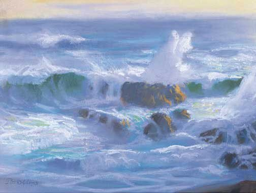 Crashing Waves at Three Arch Bay; Laguna Beach by Peter Adams, pastel painting, 12 x 16.