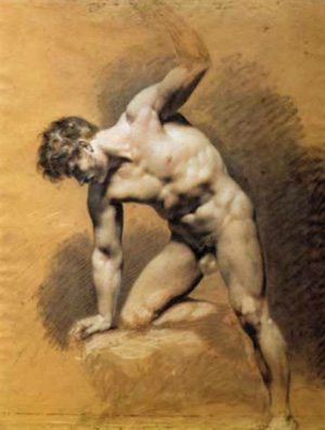 Académie d'homme by Pierre-Paul Prud'hon, ca. 1800, black chalk heightened with white, 23 5⁄8 x 18 1⁄8.