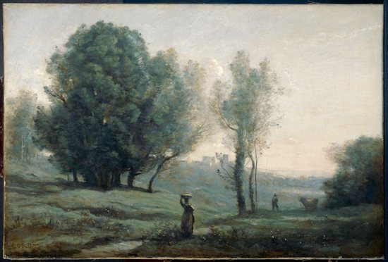 Landscape by Jean-Baptiste-Camille Corot, landscape oil painting, 1875.