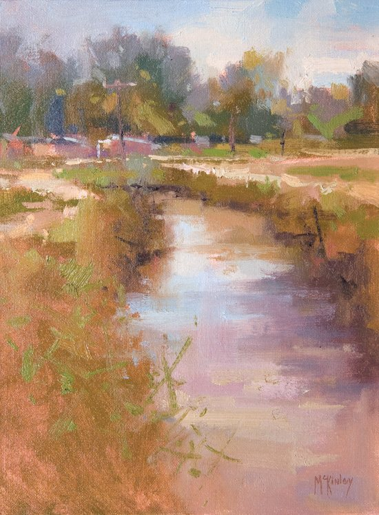 Richard McKinley's study for his landscape painting, Acequia