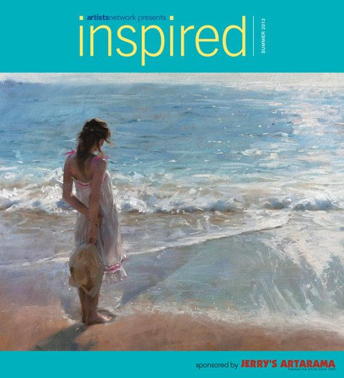 The cover of the Summer 2013 issue of Inspired features a glowing pastel painting by Vicente Romero.