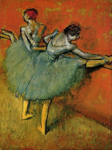 In Dancers at the Bar by Edgar Degas, 1888, the artist used complementary colors to make a sharp contrast between the figures and the space.