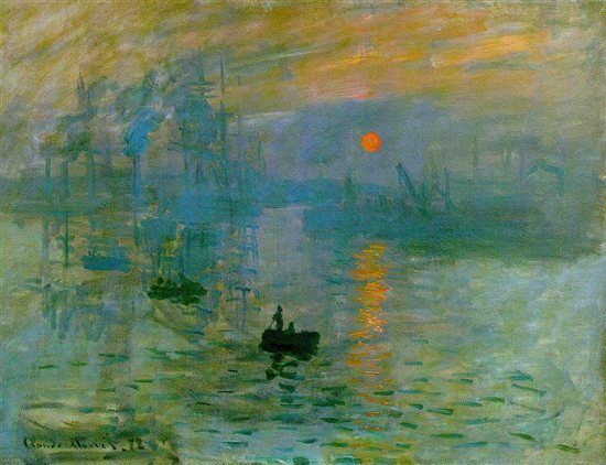 In Impression, soleil levant by Claude Monet, the artist uses cool blue and violet hues to create a sense of atmosphere and send the viewer's eye deeper into the space.