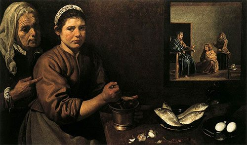 Kitchen Scene in the House of Mary and Martha by Diego Velázquez, c.1618.