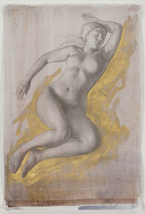 Drawing for Sleeping Venus by Patricia Watwood, 2012, pencil and gold watercolor on toned paper, 22 x 15.